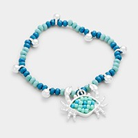 Crab charm beaded stretch bracelet
