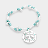 Sand dollar charm beaded stretch bracelet