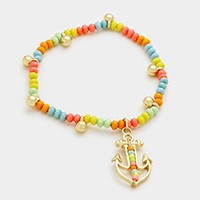 Anchor charm beaded stretch bracelet
