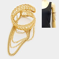 Draped chain arm cuff bracelet