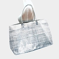 Metallic paper straw beach bag