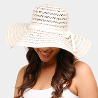 Linen Straw Floppy Sun Hat with Bow Band