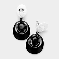Lacquered metal hoops clip on earrings