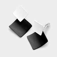 Lacquered geo metal clip on earrings