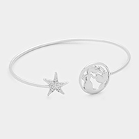 Mermaid & CZ starfish cuff bracelet