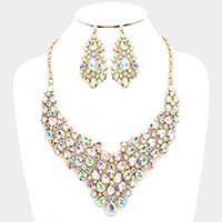 Glass crystal teardrop cluster necklace