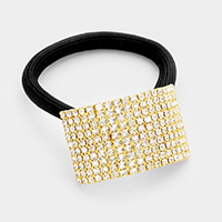 10-Row rhinestone ponytail hair band