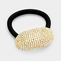 Oval rhinestone ponytail hair band