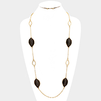 Two tone leaf station long necklace