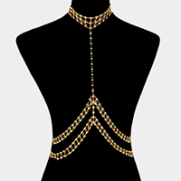Crystal embellished choker body chain necklace