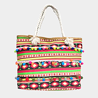 Boho pom pom tote beach bag