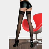 Black sheer back seam thigh high stockings
