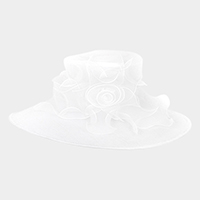 Flower detail organza hat