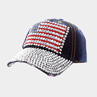 American flag _ Bling denim baseball cap