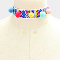 Pom pom & embroidered choker necklace