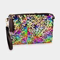 Sequin tassel zip clutch bag with strap