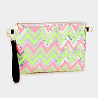 Chevron pattern sequin zip clutch bag with strap