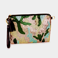 Camouflage pattern sequin zip clutch bag with strap