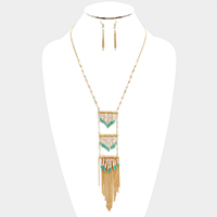 Triple layer glass bead fringe necklace