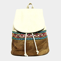Embroidered color block faux leather backpack bag