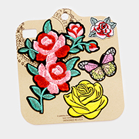 Embroidered flower & butterfly patch set