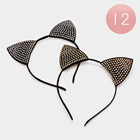 12pcs - Pave cat ears headband