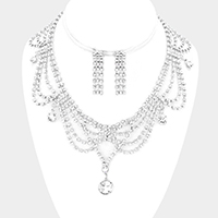 Draped rhinestone necklace with glass crystal charms
