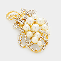 Pearl embellished bouquet brooch