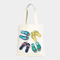 Starfish flip flops _ Cotton canvas eco shopper bag