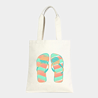 Shell flip flops _ Cotton canvas eco shopper bag