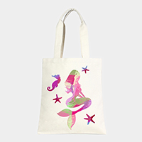 Mermaid _ Cotton canvas eco shopper bag