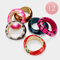 12 PCS - Assorted wooden bangle bracelets
