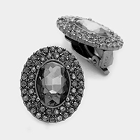 Pave trim oval glass crystal clip on earrings