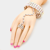3-Row glass crystal hand chain bracelet