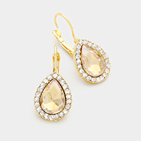 Pave trim glass crystal teardrop earrings