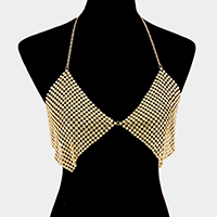 Crystal mesh bra shaped body chain necklace