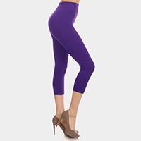 Solid high waist midi leggings