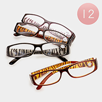 12 Pairs - Assorted power zebra pattern reading glasses