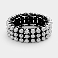 3-Row pearl stretch bracelet