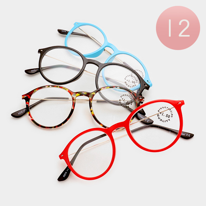 12 pairs assorted power reading glasses