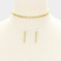 3-Row rhinestone choker necklace
