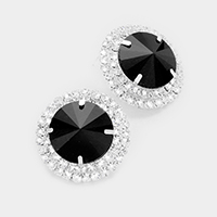 Pave Trim Glass Crystal Earrings