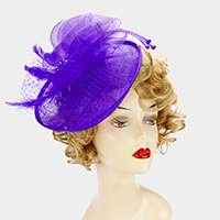Sinamay veil fascinator