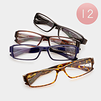 12 Pairs - Assorted power square reading glasses