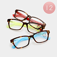 12 Pairs - Assorted power color block reading glasses