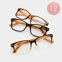 12 Pairs - Assorted power wood effect reading glasses