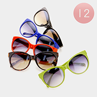12 Pairs - Solid sunglasses