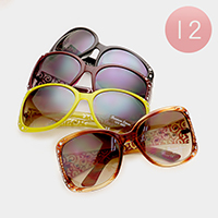 12 Pairs - Crystal embellished oversized sunglasses