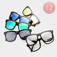 12 Pairs - Detachable two way square sunglasses