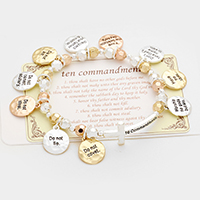 Ten Commandments multi-charm stretch bracelet